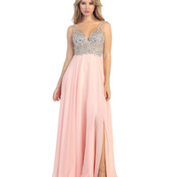 Blush Pink Stone & Chiffon Long Gown Prom 2015
