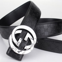 GUCCI Woman Men Fashion Belt Leather Belt Black