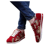 Floral Printed Sneakers In Red