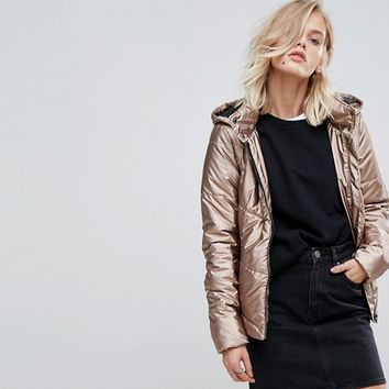 Only Padded Jacket With Hood at asos.com