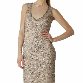 JS Collections - 864025 Sleeveless Sheer Sequined Sheath Dress