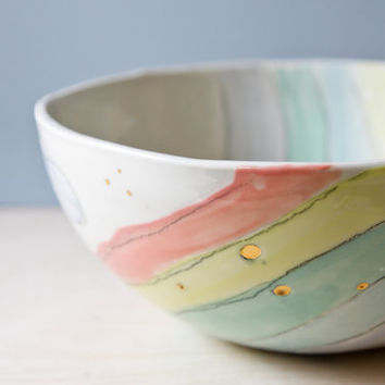 large mixing bowl, large serving bowl, pasta bowl. Pastel rainbow, handmade pottery bowl, unique ceramic bowl. Wedding, housewarming gift.