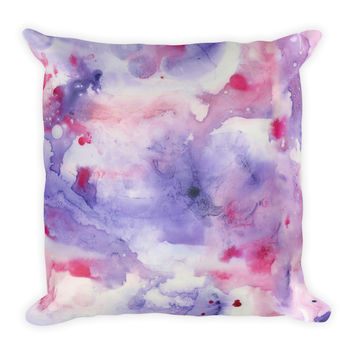 Watercolor Purple Decorative Throw Pillow 18x18
