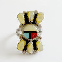 Vintage Zuni MOP, Onyx, Turquoise, Coral Sterling Silver Ring Size 6.5