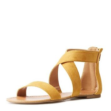 Crossed Ankle Wrap Sandals | Charlotte Russe