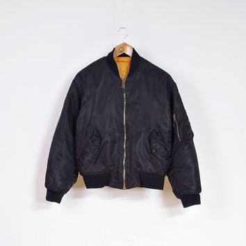 Vintage ALPHA Flyer's Man Intermediate Jacket / MA-1 Flight Jacket / Nylon Black Neon Orange Outerwear / Mens Size XS