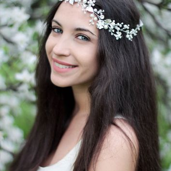 Boho Wedding Hair Halo Bridal Crystal Hair Wreath Rustic Headpiece