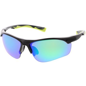 Sports Semi-Rimless TR-90 Wrap Sunglasses Slim Arms Colored Mirror Lens 65mm
