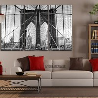 Large Wall Art Canvas Print Brooklyn Bridge 3 Panel + Ready to Hang + Stretched on Deep 3cm Frame