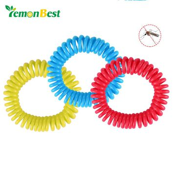 Lemonbest 3pcs Stretchable Elastic Coil Spiral Hand Wrist Band Telephone Ring Chain Anti-mosquito Bracelet Strong Repellent