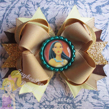 Pocahontas Hair bow Disney Princess hair clip girls hairbows Indian princess John Smith ott boutique cute toddler pretty