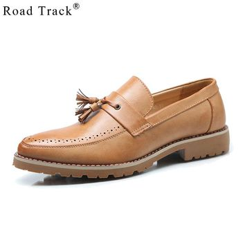 Road Track Men Shoes Casual Pointed Toe Vintage Autumn Shoes Leather Shoes Winter Men Tassel Dress Shoes