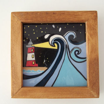 Ceramic Tile in Wood Frame Marine Art Waves around the Lighthouse Father's Day Gift...