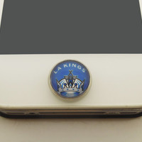 1PC Glass Epoxy Transparent Times Gems NMA Team LA Kings Cell Phone Home Button Sticker Charm for iPhone 6, 4s,4g,5,5c Gift for Boy or Men