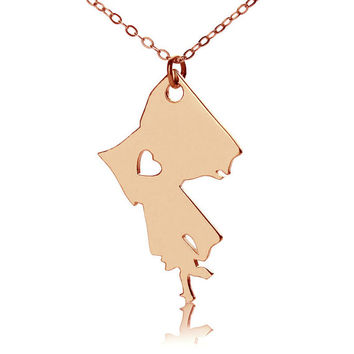 I Heart Louisiana State Necklace with heart Love Map Necklace State Jewelry Rose Gold State Love Heart Necklace