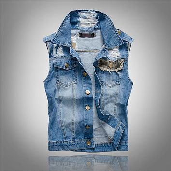 Slim Jeans Leisure Men Jean Jacket Vest