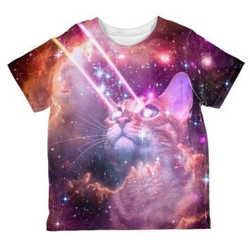 DCCKJY1 Galaxy Cat Laserbeams All Over Toddler T Shirt