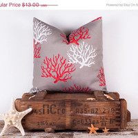 20% OFF Decorative Throw Pillows. ONE 16x16 inch. Gray Coral Cushion. Pillows. Nautical. Home Decor. Ocean. Seashells