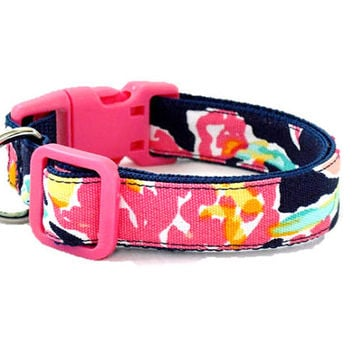Dog Collar Made from Lilly Pulitzer Navy Pretty Social Fabric Size: Your Choice