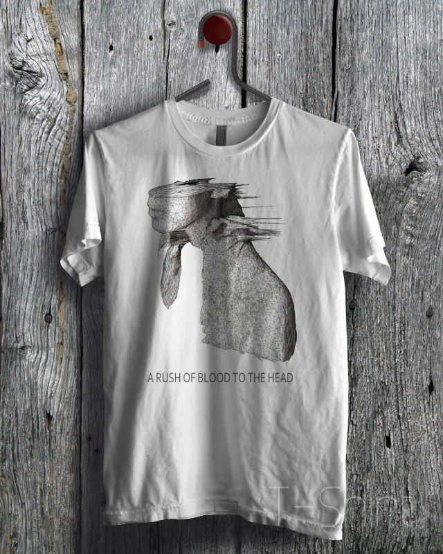A rush of blood to the head coldplay tee from for Rush custom t shirts