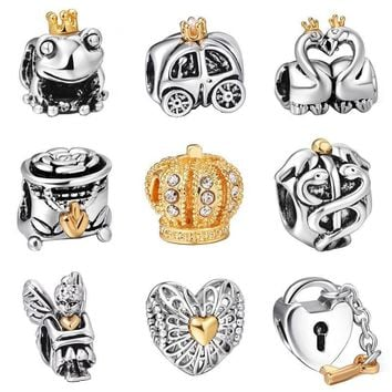 925 Sterling Silver Beads Gold Hearts Crown European Charms Bead Fit Pandora Style Bra
