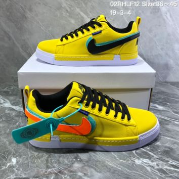 DCCK2 N821 Nike Lunar Force1 Duck Boot Magic Stick Colorful Recreational Double-hooked Canvas Board Shoes Yellow