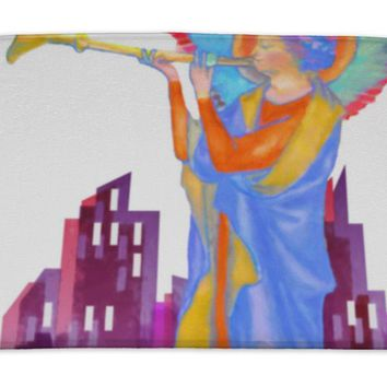 Bath Mat, Angel Playing Trumpet Watercolor Painting