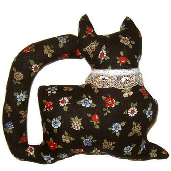 Black Floral Kitty Cat Window Sitter with a white and gold lace collar OOAK