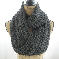 Ready To Ship Charcoal Grey Gray Infinity Crochet Scarf Cowl Loop Circle Accessory