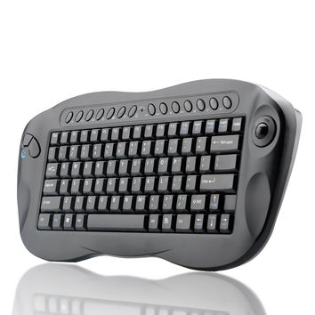 Wireless Keyboard With Trackball - QWERTY, Internet + Media Hotkeys, PC + Mac