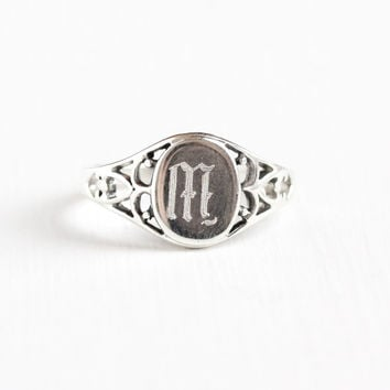 Vintage Sterling Silver Letter M Signet Filigree Ring - Size 10 Hallmarked Lind Monogram Initial Art Deco Antique Style Jewelry