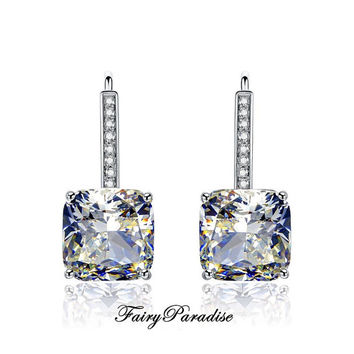 Cushion Cut Drop Bridal earrings, 925 Silver, Total 6 Ct (3 ct each) Lab Made Diamond Wedding Earrings, Free Gift box ( FairyParadise )