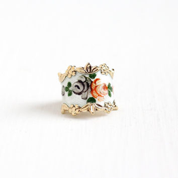 Vintage Sterling Silver White Guilloche Flower Enamel Ring - Retro Size 4 1/2 Gold Washed Vermeil Vargas Floral Rose Cigar Band Jewelry