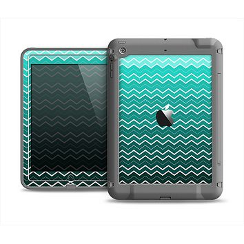 The Teal Gradient Layered Chevron Apple iPad Mini LifeProof Fre Case Skin Set