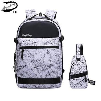 Cool Backpack school FengDong 2pcs men cool travel backpack school backpacks for boys schoolbag boy waterproof sling shoulder chest bag shipping AT_52_3