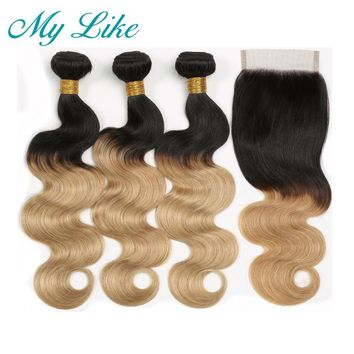 My Like Peruvian Hair Weave Body Wave Bundles with Closure 1B 27 Ombre Blonde Non-remy Human Hair Extension Bundles with Closure