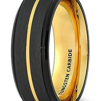 CERTIFIED 8mm Wedding Band Black Brushed Tungsten Ring Thin Gold Groove Step Edge Comfort Fit