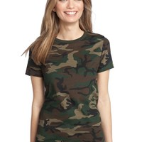 District Made - Ladies Perfect Weight Camo Crew Tee. DM104CL