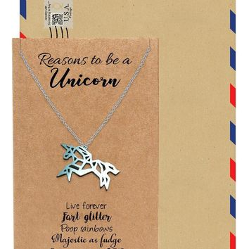 Anika Graduation Gifts Origami Unicorn Necklace, Inspirational Jewelry