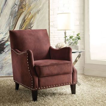 Sinai collection rust red fabric upholstered accent chair with nail head trim