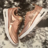 LIMITED Nike Air Max Thea SE with SWAROVSKI® Crystals- Metallic Rose Gold/White