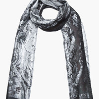 Alexander McQueen Grey Woodgrain And Skull Silk Scarf for men | SSENSE