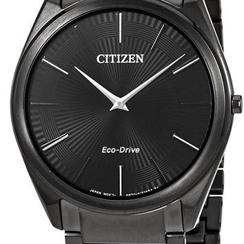 Citizen Eco-Drive Stiletto Black Stainless Steel Watch AR3075-51E