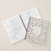Watercolor Pink Green Leaves Monogrammed Notebook