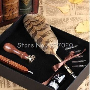 Vintage Fountain Pen Writing Ink Seal Wax Spare Tip Owl Stamp Feather Quill Dip Pen Set Antique Gift School Supply