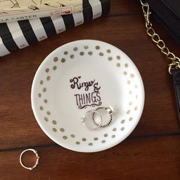 Hand Painted Jewelry Dish Ring Holder
