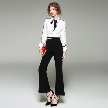 Bow Tie Black White Color Block Full Length Jumpsuit Rompers