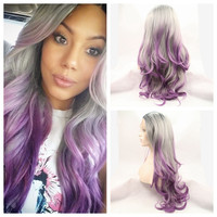 Ombre Kylie Jenner 3T black Grey purple Body wave Synthetic Lace Front  wig