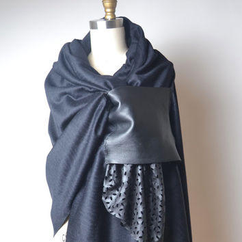 Black Wool and Leather Scarf - Women's Fashion Accessories - Valentine's day gift for her - Black Shawl Scarf