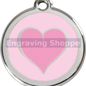 Pink 2 Tone Heart Enamel and Stainless Steel Personalized Custom Pet Tag with LIFETIME GUARANTEE ID Tag Dog Tags and Cat Tags Free Engraving